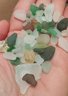 The sea glass I collected at Charmouth beach in West Dorset, United Kingdom.