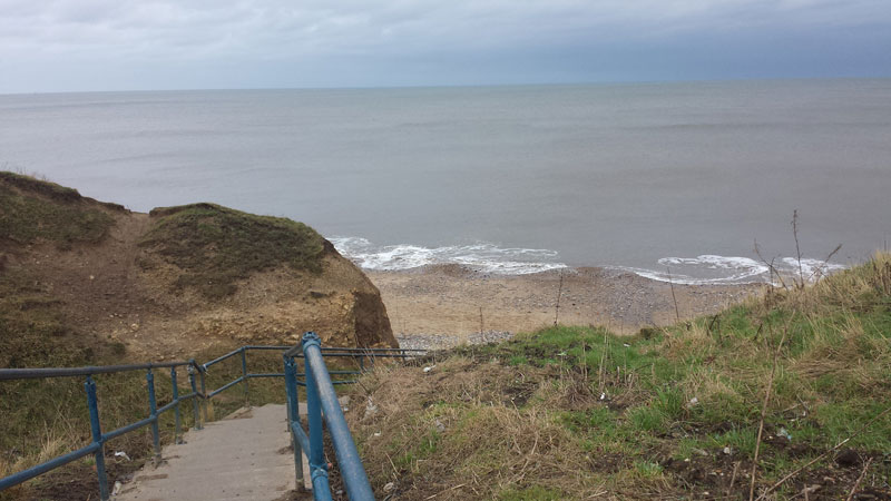 Steps leading down to Seaham Hall Beach. Easy on the way down, but tougher to walk back up after collecting sea glass!