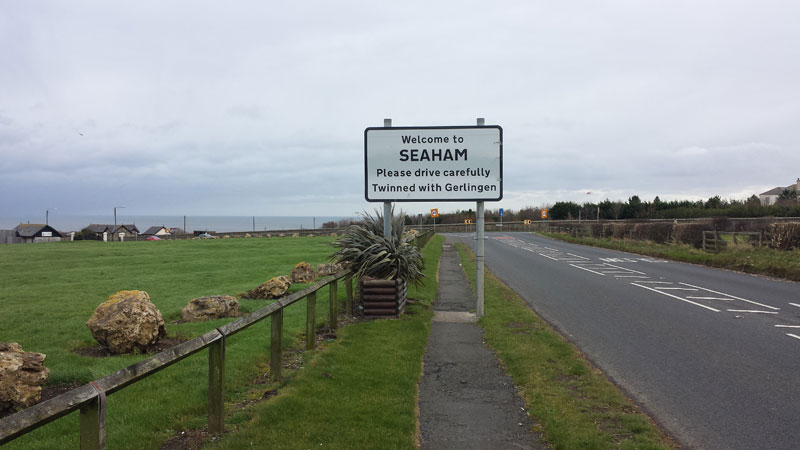 Welcome to Seaham road sign