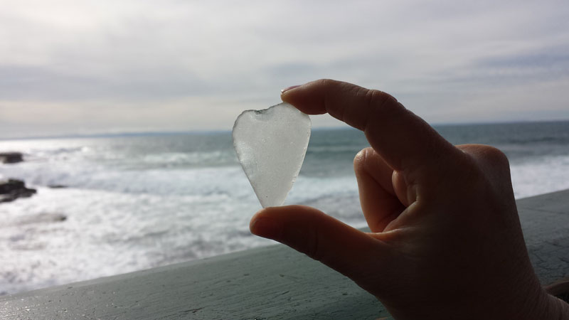 Sea glass heart found at Shell Beach, La Jolla