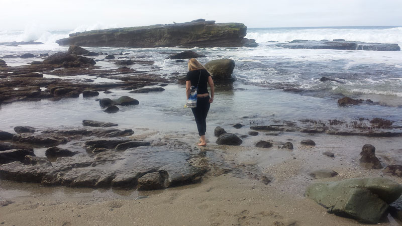 Searching for sea glass in the La Jolla tidepools, San Diego