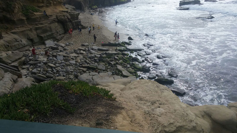 Rocks at the bottom of the staircase at Shell Beach, La Jolla