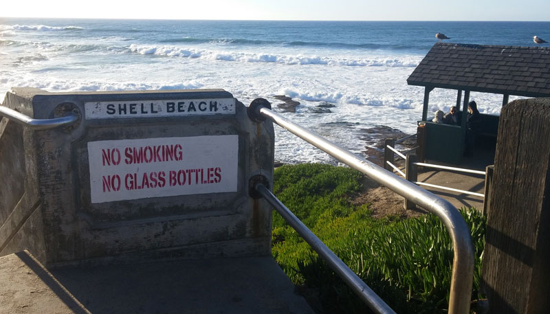Top of the staircase leading down to Shell Beach, La Jolla