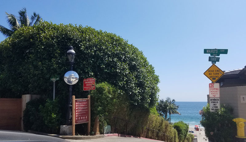 View from the top of Victoria Beach in Laguna Beach.