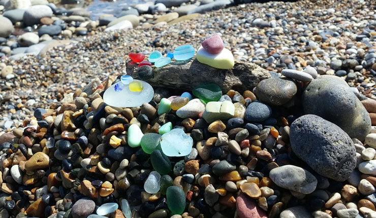 A selection of sea glass found at Seaham, United Kingdom.