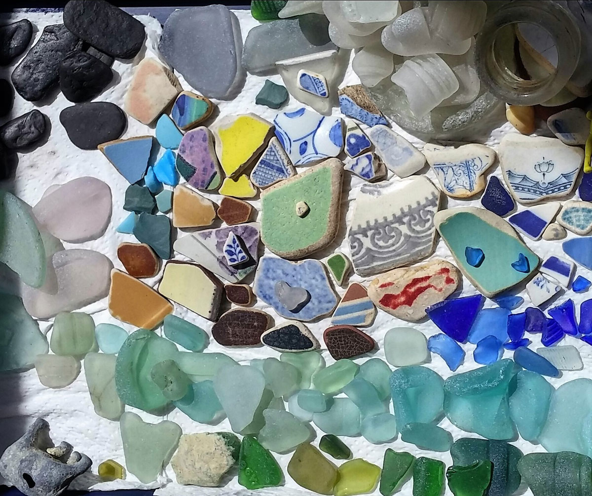 Sea glass and sea pottery from East Lothian, Scotland