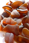 Pieces of brown sea glass