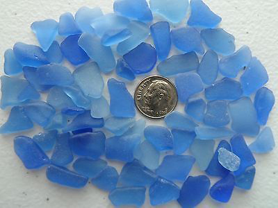 Pieces of cornflower blue sea glass