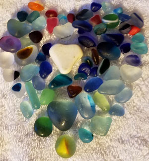 Seaham multie colored sea glass, purple sea glass, blue sea glass, aqua sea glass.