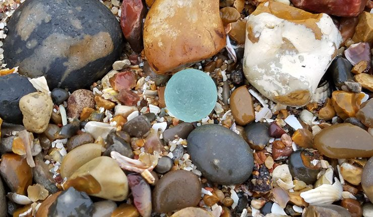 Sea glass marble found at Minster-on-Sea, Isle of Sheppey