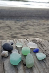 Sea glass found at Glass Beach, Port Townsend, Washington