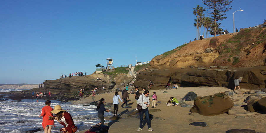 Sea glass hunters at La Jolla, San Diego, California