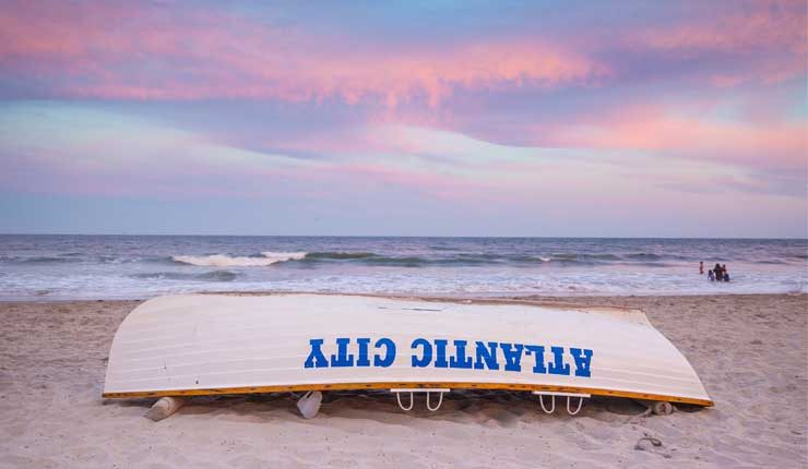 Atlantic City New Jersey Beach Sunset Liuard Boat