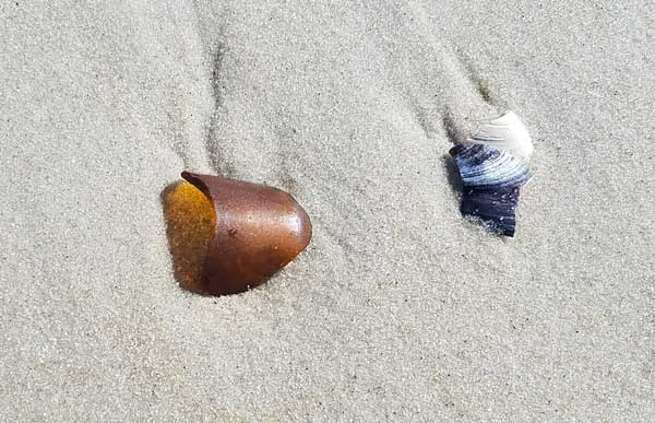 Brown sea glass in the sand on Long Beach Island, New Jersey.