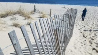 Fence at entrance on Point Pleasant Beach New Jersey.