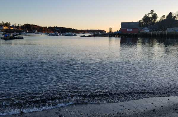 Mackerel Cove, Bailey Island, Maine water at sunset.
